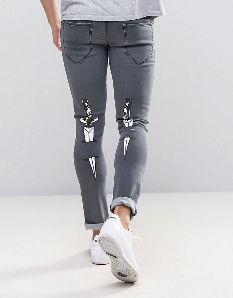 Image Love Moschino Skinny Fit Jeans With Tattoo Back Print And Waist Tab