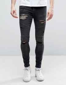 11 Degrees Super Skinny Biker Jeans In Black With Distressing afbeelding