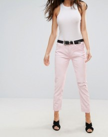7 For All Mankind Josie Crop Rip Knee Pink Jeans afbeelding