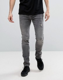 Allsaints Jeans In Skinny Fit Washed Grey With Distressing afbeelding