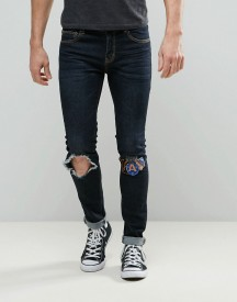 Always Rare Dexter Super Skinny Jeans Dark Wash Open Knee Badges afbeelding