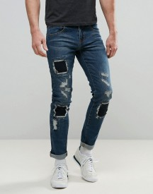Always Rare Tyler Skinny Jeans Mid Wash Patched Knees afbeelding