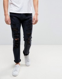 Armani Jeans Slim Tapered Jeans Ripped In Black afbeelding