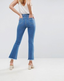 Asos Crop Flare Jeans In Mid Wash Blue With Raw Hem afbeelding