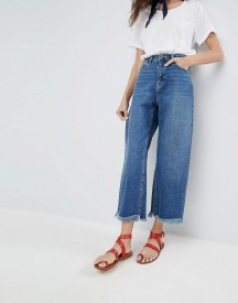 Asos Cropped Wide Leg High Rise Jean With Chewed Hems afbeelding