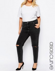 Asos Curve Farleigh High Waist Mom Jeans In Washed Black With Busted Knee afbeelding