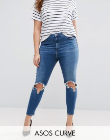 Asos Curve High Waist Ridley Skinny Jean In Roy Darkwash With Rip & Busts afbeelding
