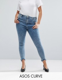 Asos Curve High Waist Ridley Skinny Jean In Rula Mottled Wash With Arched Raw Hem afbeelding