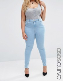 Asos Curve High Waist Ridley Skinny Jeans In Freya Light Wash afbeelding