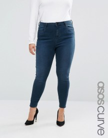 Asos Curve High Waist Ridley Skinny Jeans In Grace Wash afbeelding