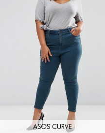 Asos Curve High Waist Ridley Skinny Jeans In London Blue Cynthia Wash afbeelding