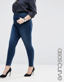 Asos Curve High Waist Ridley Skinny Jeans In London Blue Minx Wash afbeelding