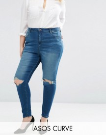 Asos Curve High Waist Ridley Skinny Jeans In Mahogony Dark Wash With Rip afbeelding