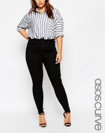 Asos Curve High Waisted Sculpt Me Jeans In Black afbeelding