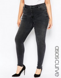 Asos Curve High Waisted Sculpt Me Skinny Jeans In Brooklyn Washed Black afbeelding