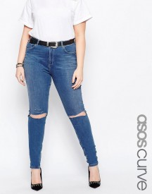Asos Curve Lisbon Midrise Skinny Jean In Blessing Mid Wash With Rips afbeelding