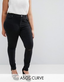 Asos Curve Lisbon Skinny Mid Rise Jeans With Two Displaced Ripped Knees In Washed Black afbeelding