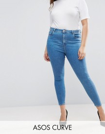 Asos Curve Ridley High Waist Skinny Jean In Lily Mid Wash Blue afbeelding