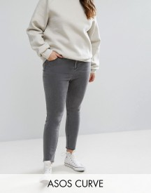 Asos Curve Ridley High Waist Skinny Jeans In Slated Grey afbeelding
