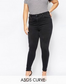 Asos Curve Ridley High Waisted Skinny Jean In Washed Black afbeelding