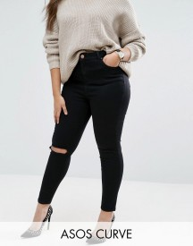 Asos Curve Ridley Skinny Jeans In Clean Black With Rip & Destroy Busts afbeelding