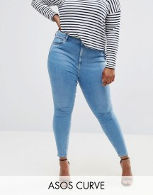 Asos Curve Ridley Skinny Jeans In Light Blue Anais Wash afbeelding