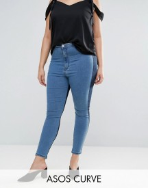 Asos Curve Rivington High Waisted Denim Jegging In Two Tone Blues afbeelding