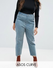 Asos Curve Straight Leg Jeans In Tonal Deconstructed afbeelding