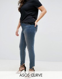 Asos Curve Lisbon Skinny Mid Rise Jean In Dita Tinted Mid Wash With Reverse Stepped Hem afbeelding