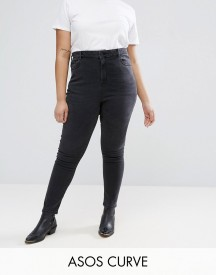 Asos Curve Ridley High Waist Skinny Jeans In Quintessential Washed Black afbeelding