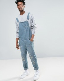 Asos Denim Dungarees In Vintage Light Blue With Rips afbeelding
