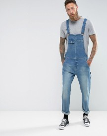 Asos Denim Dungarees In Vintage Mid Wash Blue With Work Wear Styling afbeelding