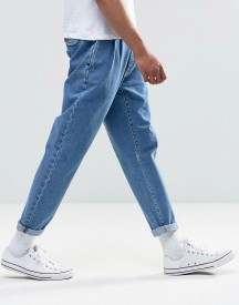 Asos Double Pleat Straight Leg Jean In Light Blue afbeelding