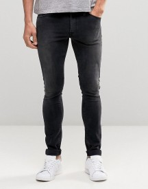 Asos Extreme Super Skinny Jeans In Washed Black afbeelding