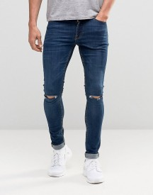 Asos Extreme Super Skinny Jeans With Knee Rips In Dark Wash afbeelding