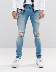 Asos Extreme Super Skinny Jeans With Mega Rips In Mid Blue afbeelding