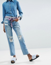 Asos Made In Kenya Upcycled Jeans With Printed Tie Belt afbeelding