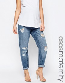 Asos Maternity Brady Slim Boyfriend Jeans In Avaline Mid Wash With Over The Bump Waistband With Under The Bump Waistband afbeelding