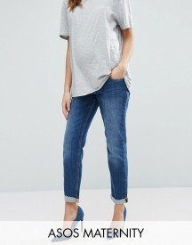 Asos Maternity Kimmi Boyfriend Jeans In Roxy Wash With Over The Bump Waistband afbeelding