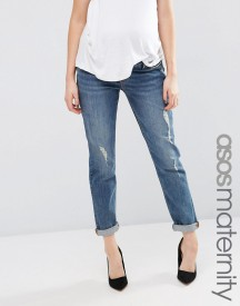 Asos Maternity Kimmi Shrunken Boyfriend Jean In Tyler Mid Wash With Rips afbeelding