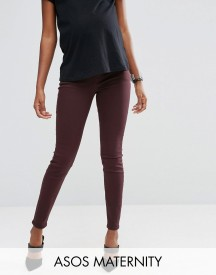 Asos Maternity Lisbon Mid Rise Jean In Blackened Oxblood With Under The Bump Waistband afbeelding