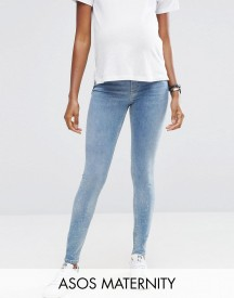 Asos Maternity Lisbon Mid Rise Jean In Zoe Wash With Ripped And Chewed Hem With Under The Bump Waistband afbeelding