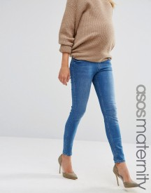 Asos Maternity Lisbon Skinny Jean In Jessie Dark Stonewash With Under The Bump Waistband afbeelding