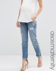 Asos Maternity Portland Loose Boyfriend Jeans With Embroidery And Rip And Repair With Under The Bump Waistband afbeelding