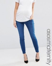 Asos Maternity Ridley Skinny Jean In Bailie Wash With Under The Bump Waistband afbeelding