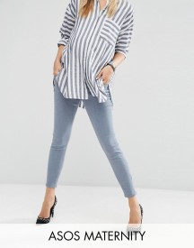 Asos Maternity Ridley Skinny Jean In Nevaeh Wash With Under The Bump Waistband afbeelding