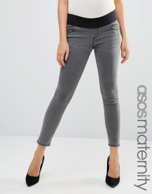 Asos Maternity Ridley Skinny Jean In Slated Grey With Under The Bump Waistband afbeelding