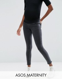Asos Maternity Ridley Skinny Jean In Washed Black With Zip Hem With Under The Bump Waistband afbeelding