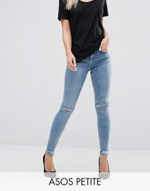Asos Petite Lisbon Mid Rise Skinny Jeans In Shelby Light Stonewash With Shredded Knees And Chewed Hems afbeelding