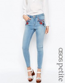 Asos Petite Ridley Skinny Ankle Grazer Jeans In Surf Wash With Embroidery afbeelding